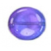 Glass Bead Flat 20/18mm Blue/Lilac Wavy Oval - Strung